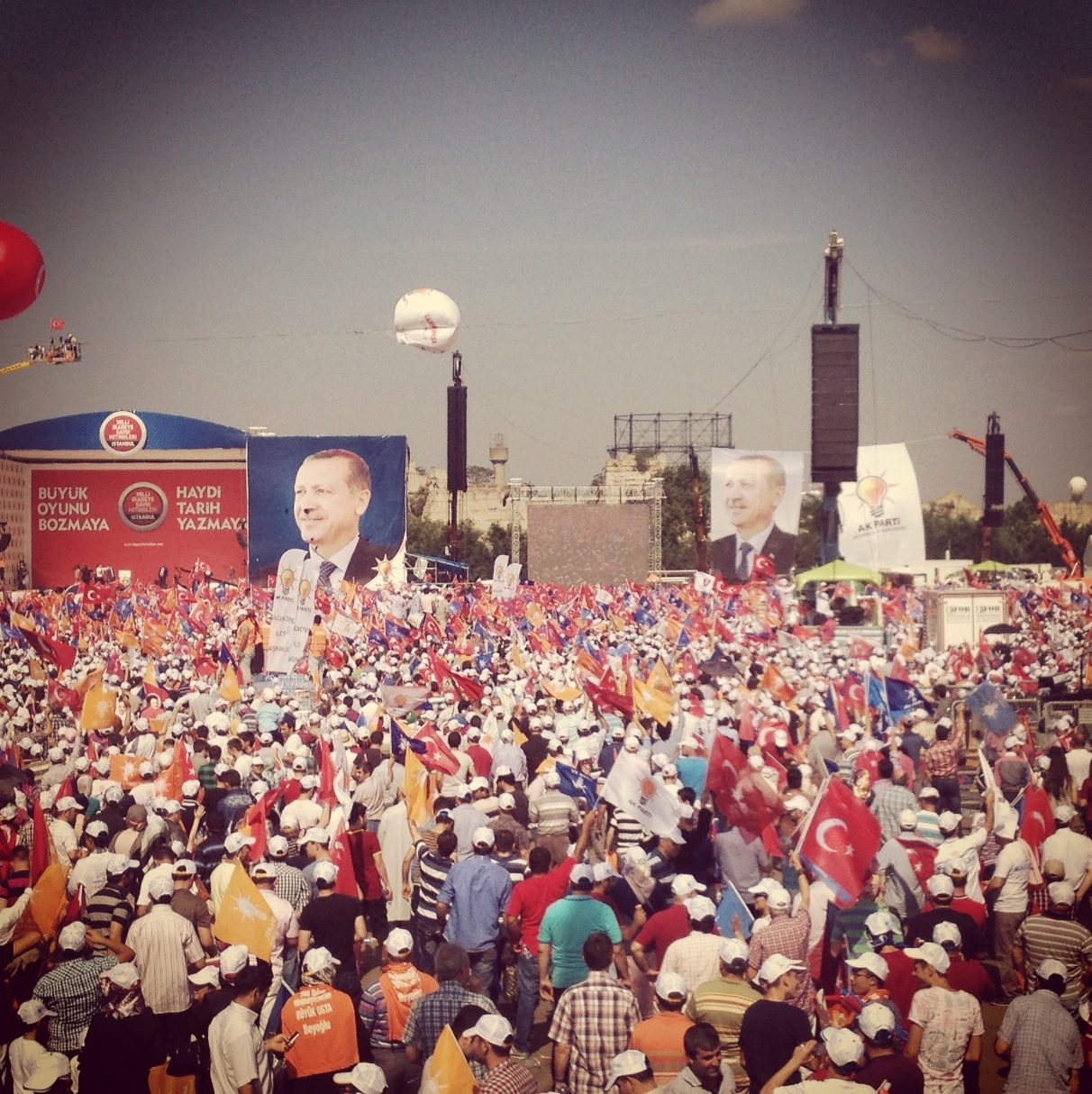 The platform. Massive images and banners of PM Erdogan were everywhere.