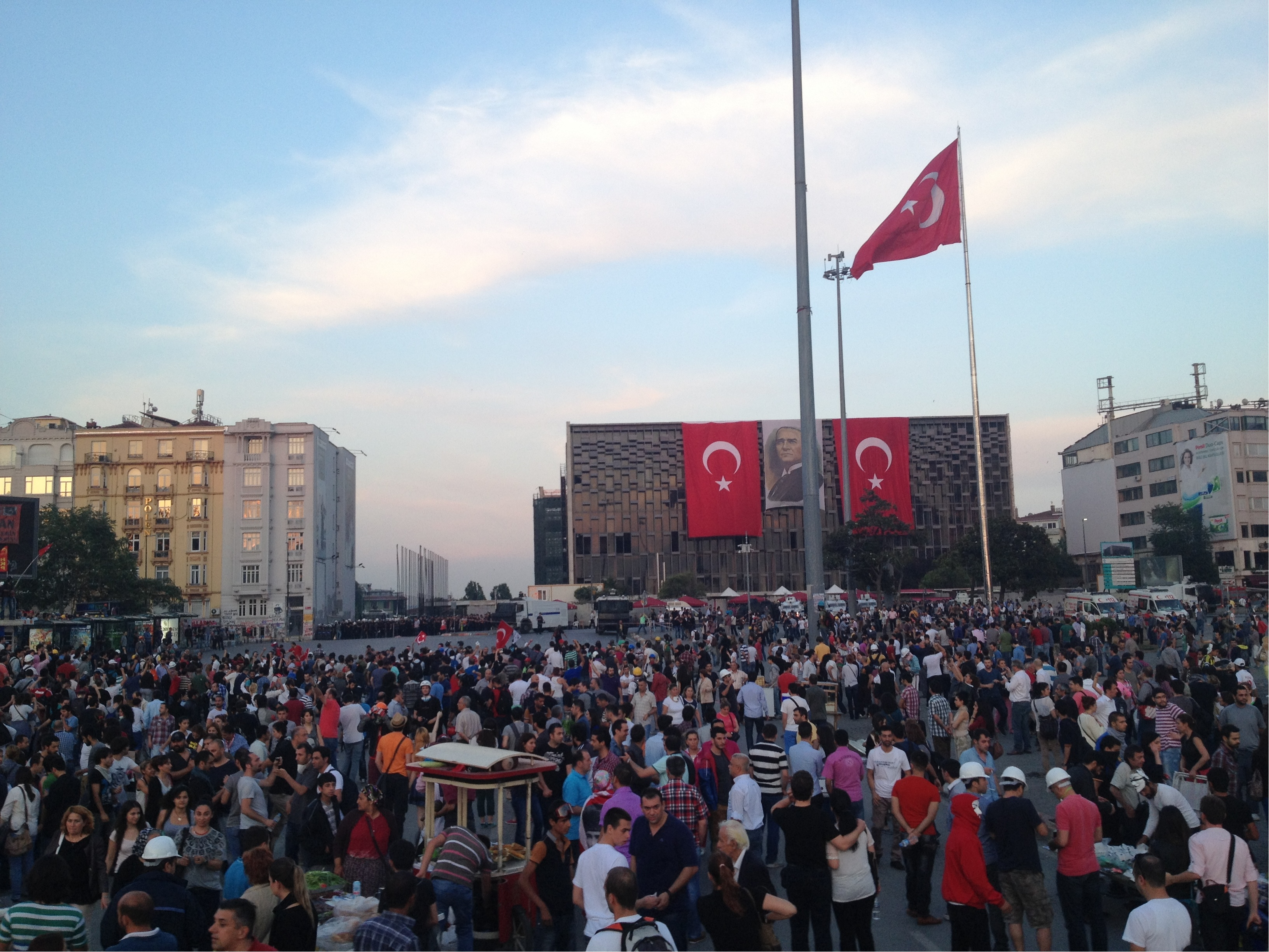 Taksim Square moments before the police attacked with tear gas canons and grenades.