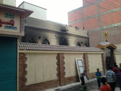 A Presbyterian church in Bany Mazar shows the after effects of an attack by the Muslim Brotherhood.